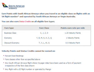 South African Airways Earning Table